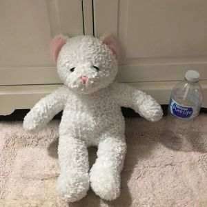 White sleepy eyed teddy bear plush decor
